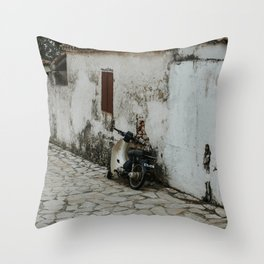 Abandoned street in Maries with scooter   Colourful Travel Photography   Zakynthos, Greece (Zante)  Throw Pillow