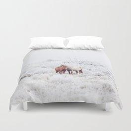 Two Winter Horses Duvet Cover