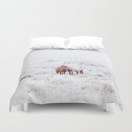 Two Winter Horses Duvet Cover