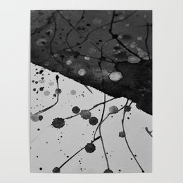 Watercolor Abstract (Black and White) Poster