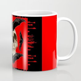 HALLOWEEN BAT INFESTED HAUNTED SKULL RED ART DESIGN Coffee Mug