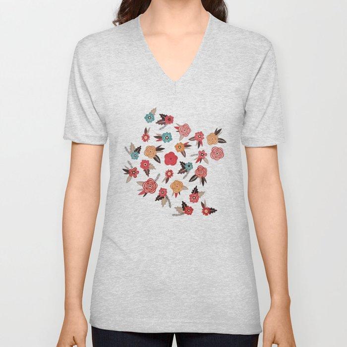 Pop Flower Belt Unisex V-Neck
