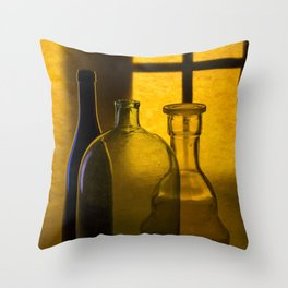 Still life with glass objects on a window background Throw Pillow