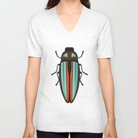 beetle V-neck T-shirts featuring Beetle  by Juliana Zimmermann
