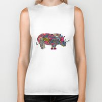 rhino Biker Tanks featuring Rhino by Green Girl Canvas