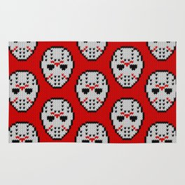 Knitted Jason hockey mask pattern Rug