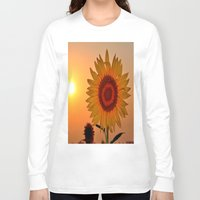 sunflower Long Sleeve T-shirts featuring sunflower by  Agostino Lo Coco