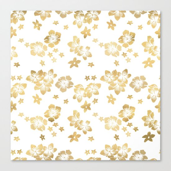 Gold Tropical Flowers Canvas Print