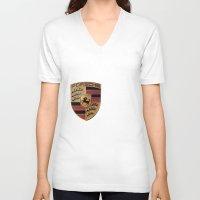 font V-neck T-shirts featuring Porsche FONT by kartalpaf