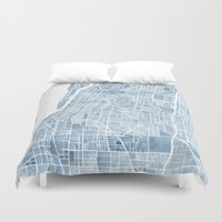 blueprint Duvet Covers featuring Memphis Tennessee blueprint watercolor map by Anne E. McGraw