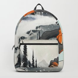 Snowboard, cartoon style, watercolor winter landscape Backpack