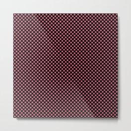 Black and Rapture Rose Polka Dots Metal Print