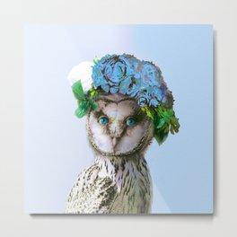 Cool Animal Art - Owl with a Flower Crown Metal Print