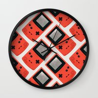 gameboy Wall Clocks featuring Gameboy Color: Red (Pattern) by Zeke Tucker