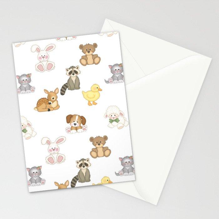Cute Woodland Farm Baby Animals Nursery Stationery Cards