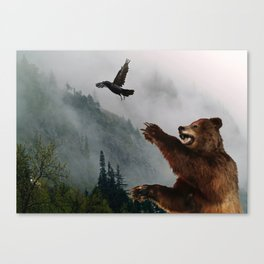 The Trickster - Raven & Grizzly Bear Art Print Canvas Print