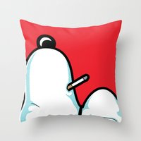 snoopy Throw Pillows featuring The Secret Life of Heroes - SIGH by Greg-guillemin