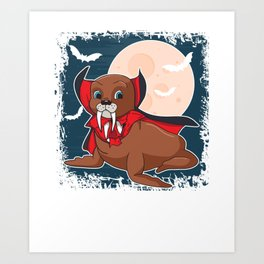 Cute Vampire Seal Happy Halloween Animal Art Print