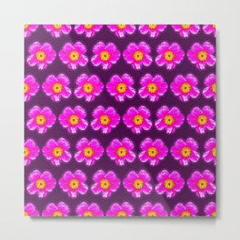 Pink floral pattern on a burgundy background, Girly Pattern Metal Print