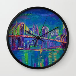 New York City Night Lights - palette knife painting urban Brooklyn bridge skyline Wall Clock