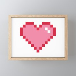 Pink Pixel Heart Love Framed Mini Art Print