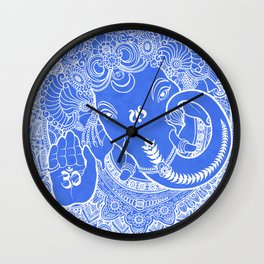 Ganesha Lineart Blue White Wall Clock
