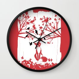 THE LONELY FOX Wall Clock