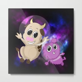 Cow and Alien Metal Print