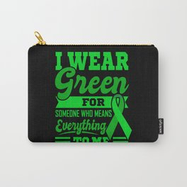 I WEAR GREEN World Cancer Day Gift Green Ribbon Carry-All Pouch