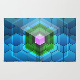 Contemporary abstract honeycomb, blue and green graphic grid with geometric shapes Rug