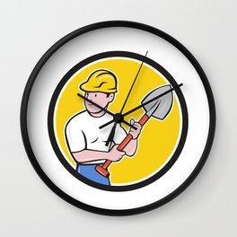 Builder Construction Worker Holding Spade Cartoon Wall Clock