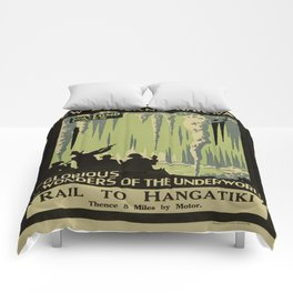Vintage poster - Waitomo Caves Comforters