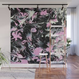 Fluid Acrylic (Black, white and pink) Wall Mural