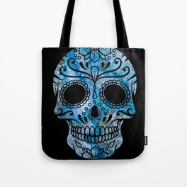 Blue Lace Sugar Skull Tote Bag