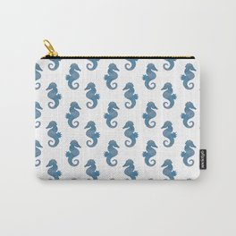 Blue Watercolor Seahorse pattern - Lo Lah Studio Carry-All Pouch