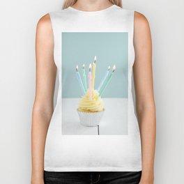 Cupcake with candles Biker Tank