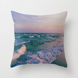 Sunset Crashing Waves Throw Pillow