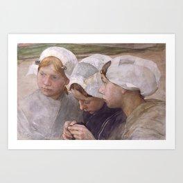 Pieter de Josselin de Jong - Three Girls from Scheveningen - Dutch Victorian Retro Vintage Oil Paint Art Print