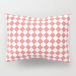 White and Coral Pink Diamonds Pillow Sham