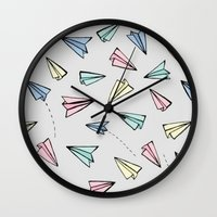 planes Wall Clocks featuring paper planes; by herejustbc;