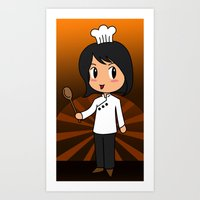 chef Art Prints featuring Chef by Flying Cat Artwork