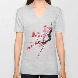 red plum flower red background Unisex V-Neck