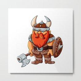 Viking mascot  cartoon illustration Metal Print