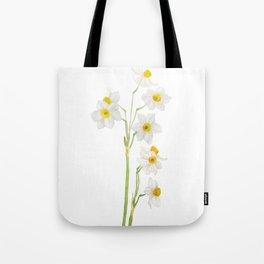 white narcissus watercolor Tote Bag
