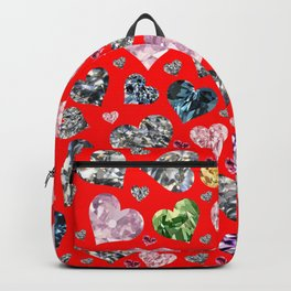Heart Diamonds are Forever Love RED Backpack