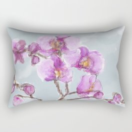 Watercolor Orchids Rectangular Pillow
