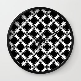 Large Black Geometric Circles Interlocking on White Background Wall Clock