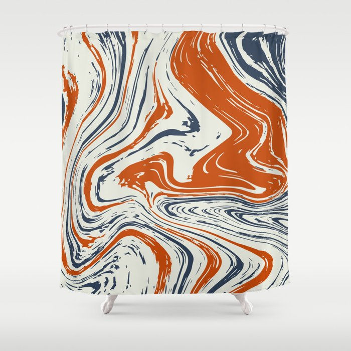 blue and orange marble abstract texture Pattern Shower Curtain