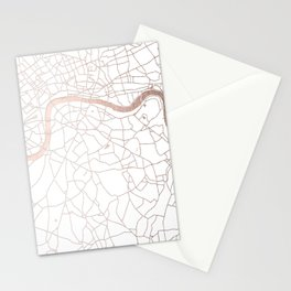 White on Rosegold London Street Map Stationery Cards