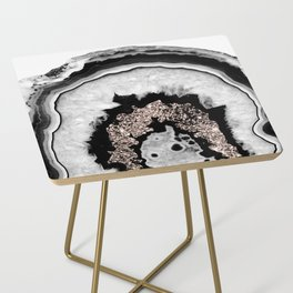 Gray Black White Agate with Rose Gold Glitter #1 #gem #decor #art #society6 Side Table